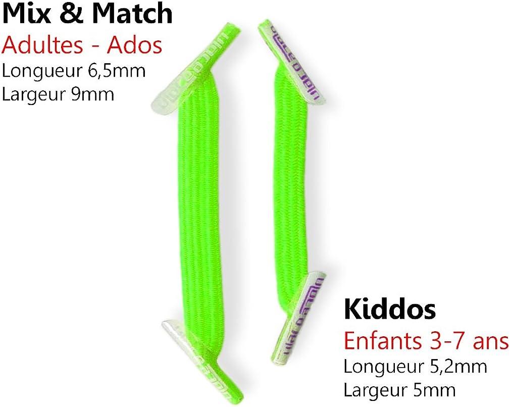 Comptez les oeillets! KIDDOS Lacets /élastiques enfants de 3 /à 7 ans ATTENTION: 2 sachets au minimum pour une paire de baskets U-Lace