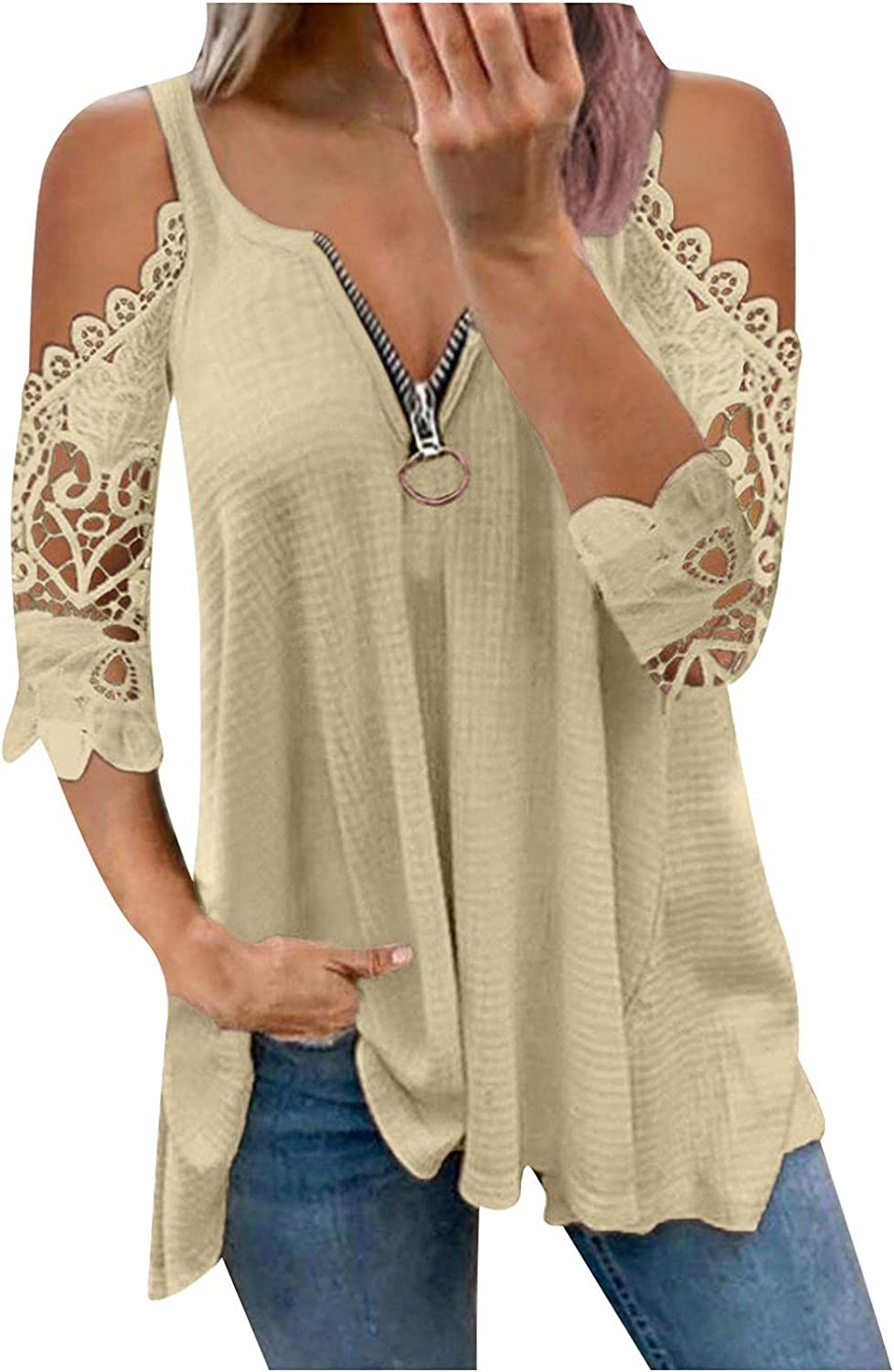 Womens Summer Tops V Neck Zipper T-Shirt Half Sleeve Blouses Loose Tunic Sexy Shirt Solid Color Tees