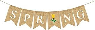 Rainlemon Jute Burlap Spring Banner with Flower Home Mantel Fireplace Decoration