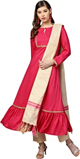 Inddus Pink & Beige Silk Blend Solid Kurta Pants With Woven Dupatta (Fully-Stitched).
