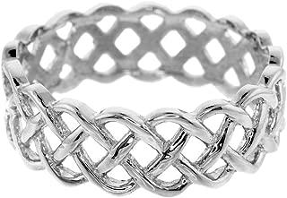 Fine 14k White Gold Celtic Knot Band Eternity Ring
