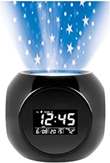 Sharper Image Digital LED Display Multi-function Star Projection Alarm Clock with Nature Sound Therapy
