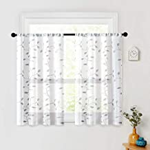 MRTREES Embroidered Sheer Curtains Living Room Bedroom Tiers 36 inches Long Tier Curtain Panels Leaves Embroidery Pole Pocket Window Treatment 2 Panels Grey Leaves