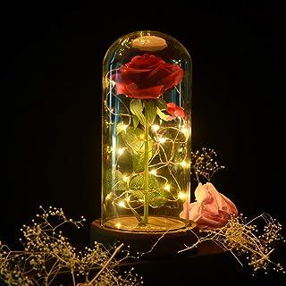 Shirylzee La Bella y la Bestia rosa eterna luz de cristal rosa cúpula luz LED flor artificial seda roja con base de madera lámpara decoración regalo para cumpleaños aniversario San Valentín