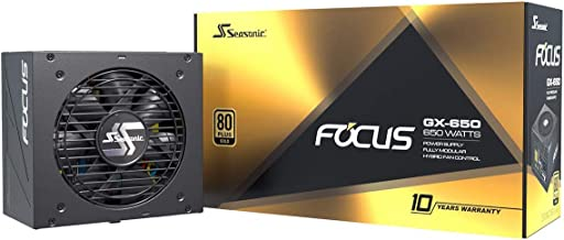 Seasonic FOCUS GX-650, 650W 80+ Gold, Full-Modular, Fan Control in Fanless, Silent, and Cooling Mode, Perfect Power Supply...