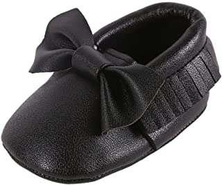 Weixinbuy Baby Boys Girls Soft Soled Tassel Bowknots Crib Shoes PU Moccasins