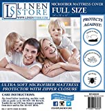 Microfiber Zippered Mattress Cover, Bed Bugs Shield, Dustmites Protector, Hypoallergenic (Full) by Linen Store