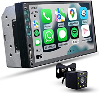 $98 » Double Din Carplay Compatible with Apple CarPlay and Android Auto,7 Inch Car Stereo with Mirror Link,Bluetooth,Steering Wh...