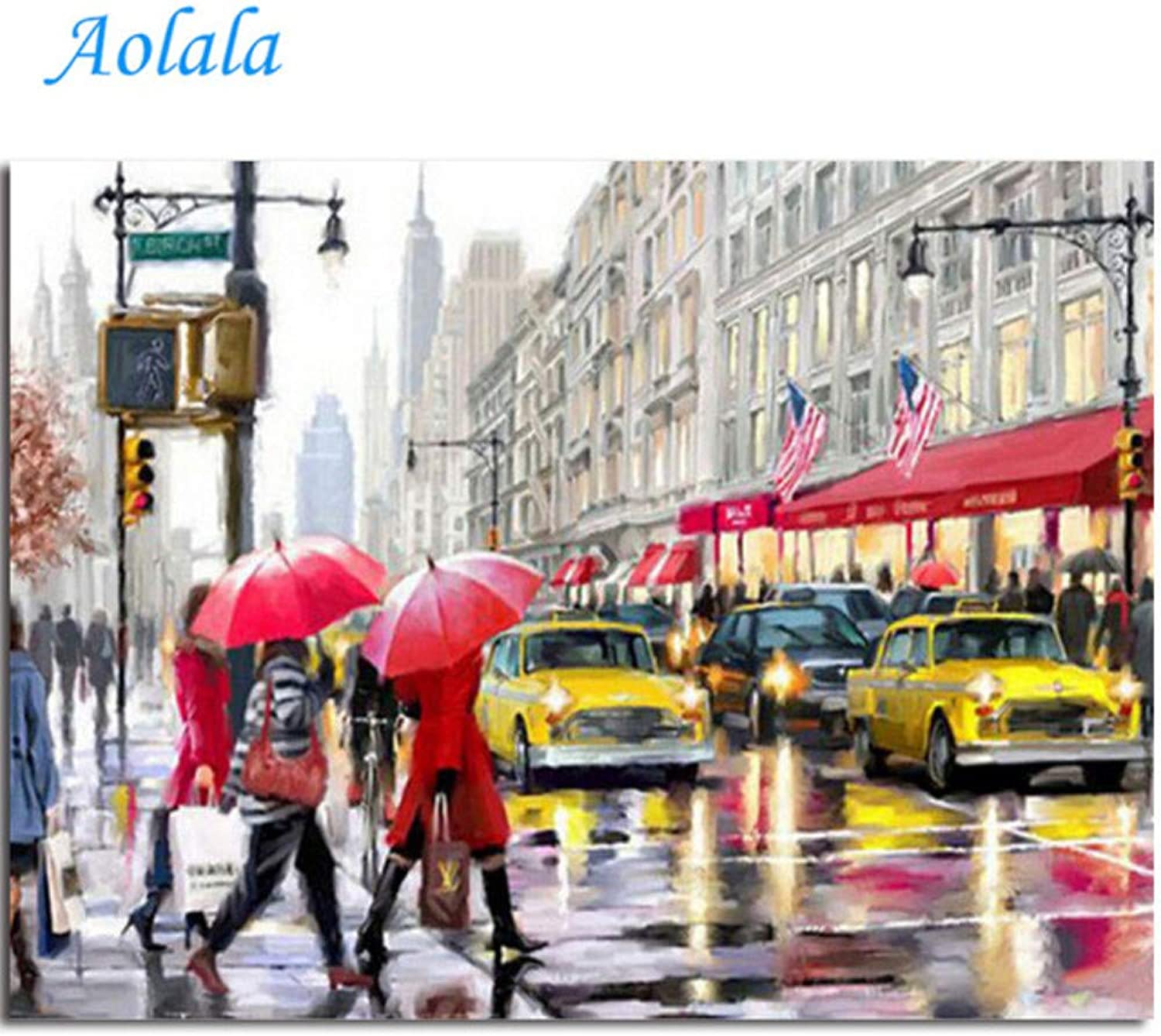 Red Umbrella Street Couple Picture Oil Painting Paintng by Numbers Canvas Painting Home Decor Wall Art,60x75cm