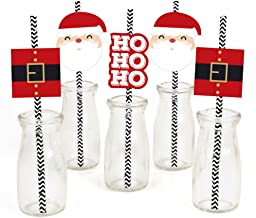Big Dot of Happiness Jolly Santa Claus Paper Straw Decor - Christmas Party Striped Decorative Straws - Set of 24