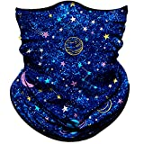 Obacle Seamless Bandana for Rave Face Mask Dust Wind UV Sun Protection Neck Gaiter Tube Mask Headwear Bandana for Women Men Festival Party Motorcycle Riding Fishing Outdoor (Starry Sky Planet Blue 14)
