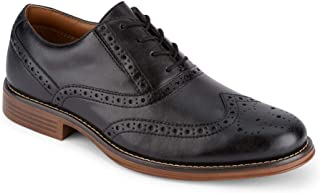 Mens Thatcher Polished Business Dress Black Wingtip Lace-up Oxford Shoe