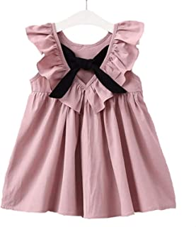 New Summer Fashion Styles, Pleated Sleeves, Women's Bow Tie, Princess Dress, Children's Clothes, Girls' Cute Dress.