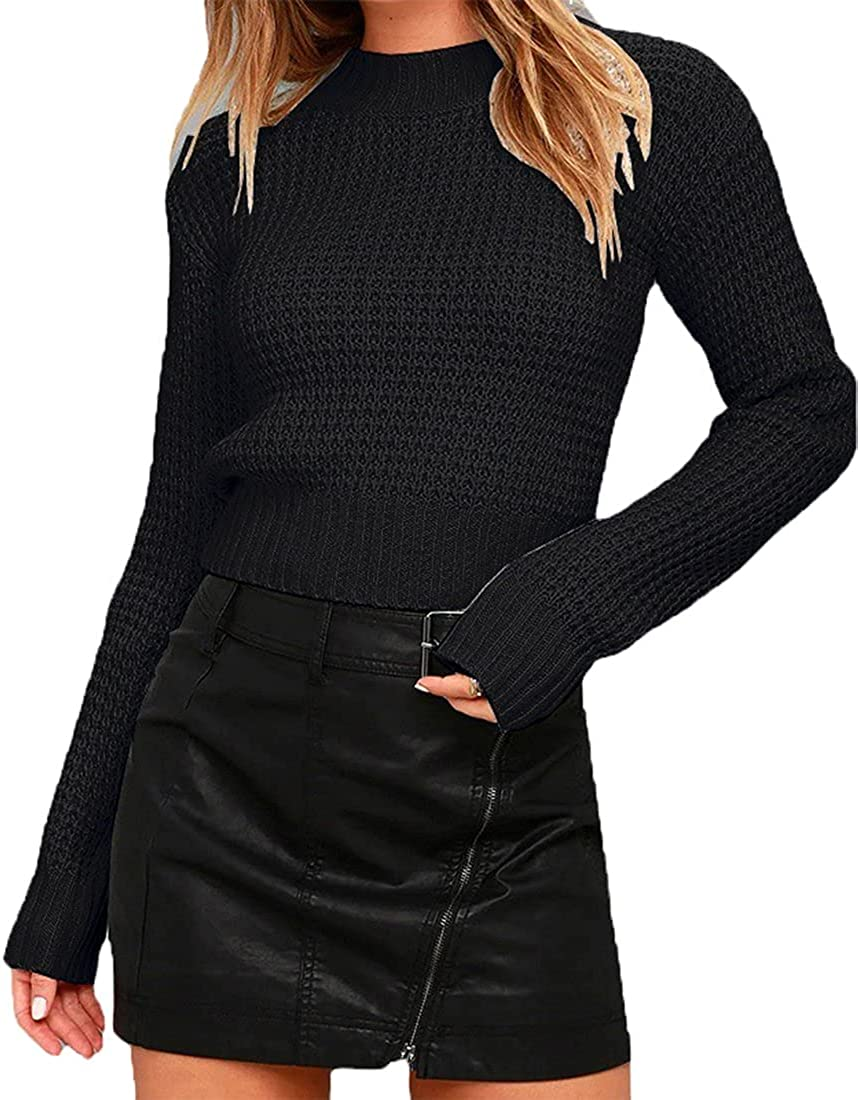 Styyyou Women's Slim Fit Knit Pullover Sweater Fashion Chunky Solid Color Short Sweater Tops