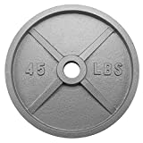 Crown Sporting Goods 2-inch Olympic Style Iron Weight Plate (45 LB)