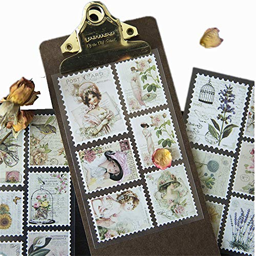 DESEACO Ephemera Vintage Aesthetic Decorative Old Time Memorial Assorted Designs Embellishments Stamps Stickers/Decals Sets for Scrapbook, Crafts, Diary, Album, Stationery and Journals Supplies (36 Pieces)