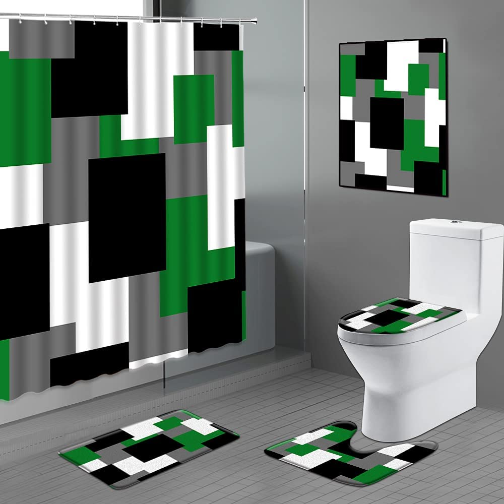Xnichohe 4 Pieces Black Green Shower with Discount mail order Curtain Set Non-Slip OFFicial shop R