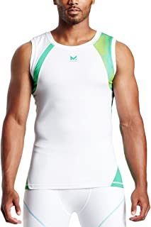 Mission X Wade Collection Men's Sleeveless Compression Shirt, Maze Aqua Yellow/White, Large