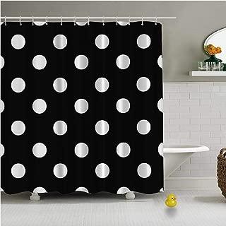 C COABALLA Black White Polka Dot Background Vector Durable Shower Curtain for Bath Tub,79''L x 72''W
