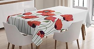 ABAKUHAUS Floral Nappe, Jardin Coquelicot Naturel, Linge de Table Rectangulaire pour Salle à Manger Décor de Cuisine, 140 ...
