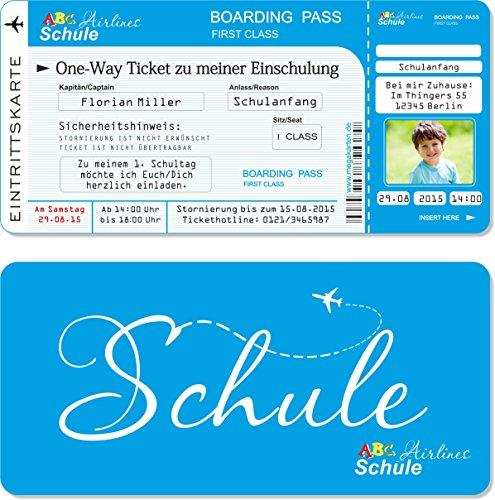 Einladungskarten Einschulung als Flugticket mit Abriss-Coupon, blau 10 Stück