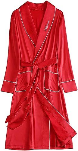 Servicio en el hogar Vestido matutino para muñeres Boda, de Manga Larga Albornoz Servicio en el hogar rojo