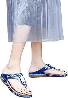 XLnuln Women Sandals Peep Toe Elastic T-Strap Bohemia Shoe Beach Holiday Shoes Casual Rhinestone Sandals Clip-Toe Slippers