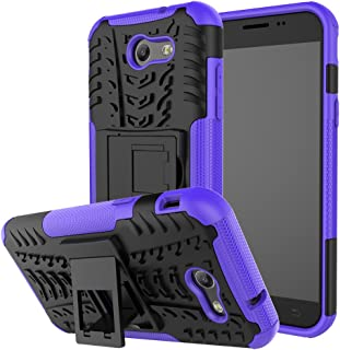 For Samsung Galaxy J3 Emerge Case, J3 Prime/J3 Mission/J3 Eclipse/J3 2017/J3 Luna Pro/Sol 2/Amp Prime 2/Express Prime 2 Case, Asstar Rugged Dual Layer Case with Kickstand (Black+Purple)