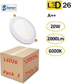 Pack de 3 Paneles LED Downlight Redondo Plano 20W Blanco De Empotrar 220mm 6000K Luz Blanca Fría [Clase de eficiencia energética A++]