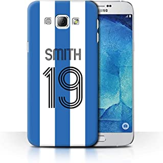 Personalized Custom Soccer Club Jersey Shirt Kit Case for Samsung Galaxy A8 2015 / Blue White Stripes Design/Initial/Name/Text DIY Cover