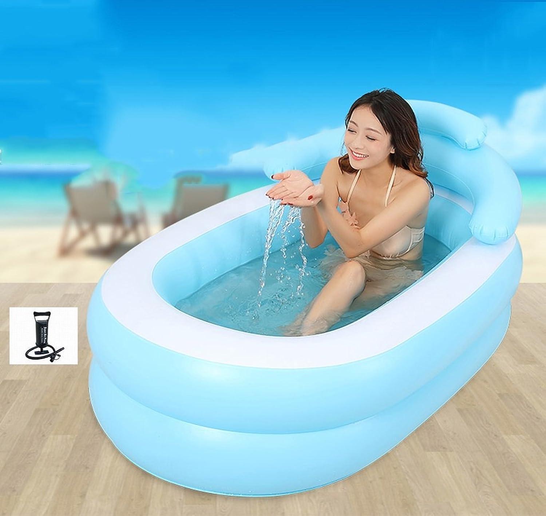Bathtub S Portable Adult Thickened Inflatable Folding Tub bluee (Size   B)