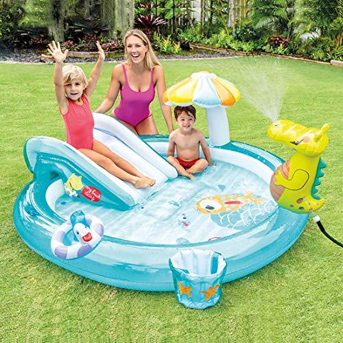 HXMSXROMIDA Toboganes de agua inflables para niños jardín tuberías de agua pueden ser rociados ecológicos de plástico inflable redondo con sombrillas, cubo de piscina