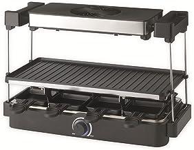 Trebs Raclette Grill 15110 - Raclette avec hotte - 8 poêlons - Double revêtement anti-adhésif - 1300 W - Noir