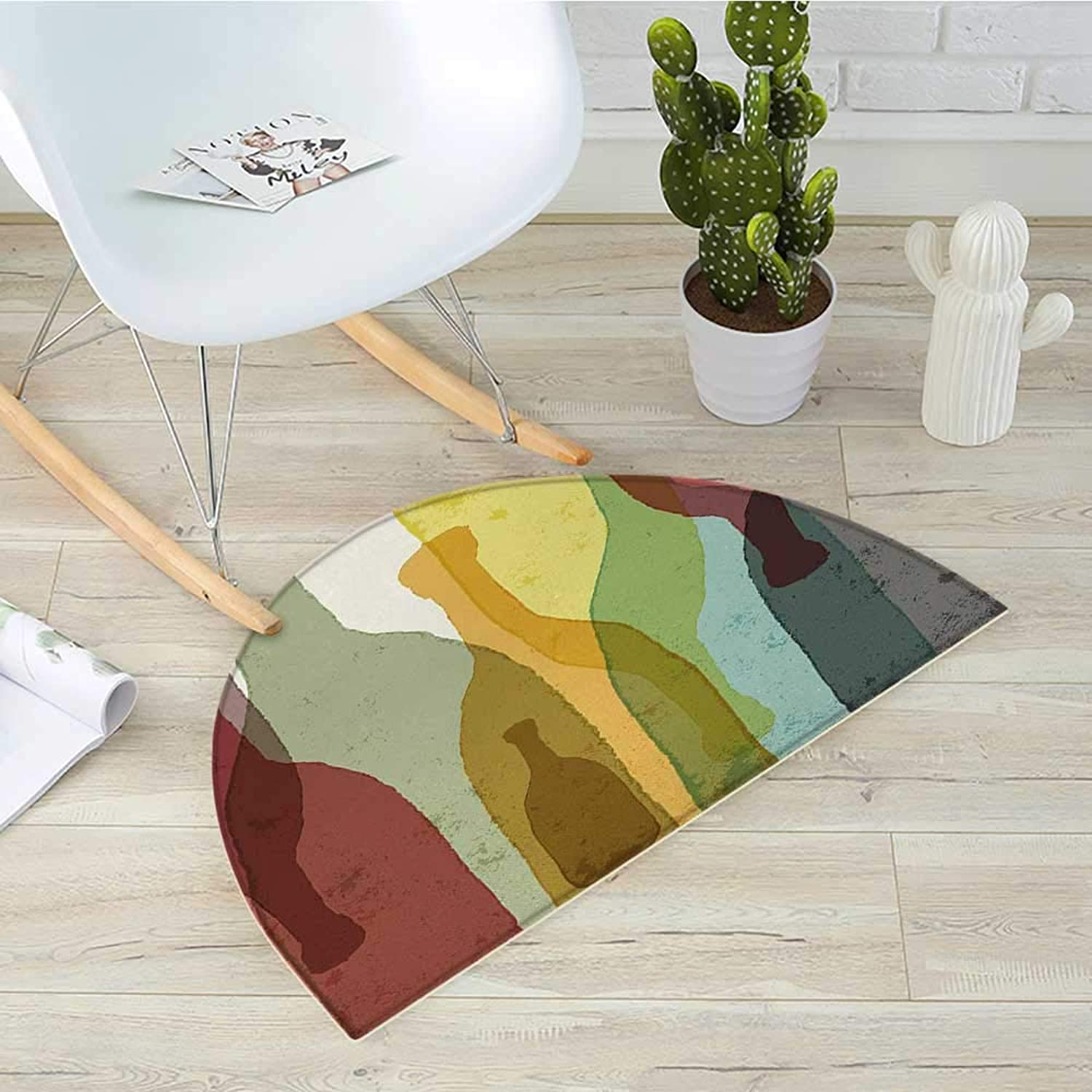 Wine Semicircular CushionAbstract Composition with Watercolor Silhouettes Bottles of Wine Whiskey Tequila Vodka Entry Door Mat H 19.7  xD 31.5  Multicolor