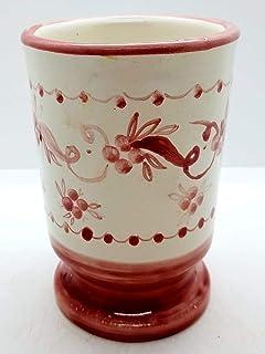 Bicchiere Portaspazzolini Porta penne Linea Fiori Rosa Ceramica Realizzato e Dipinto a mano da Le Ceramiche del Castello N...