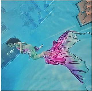 Traje De Bano Sirena para Niñas con Bikini Conjunto con Cola De Sirena para Piscina/Playa/Baño/Cosplay/Fiesta Temática/Nad...
