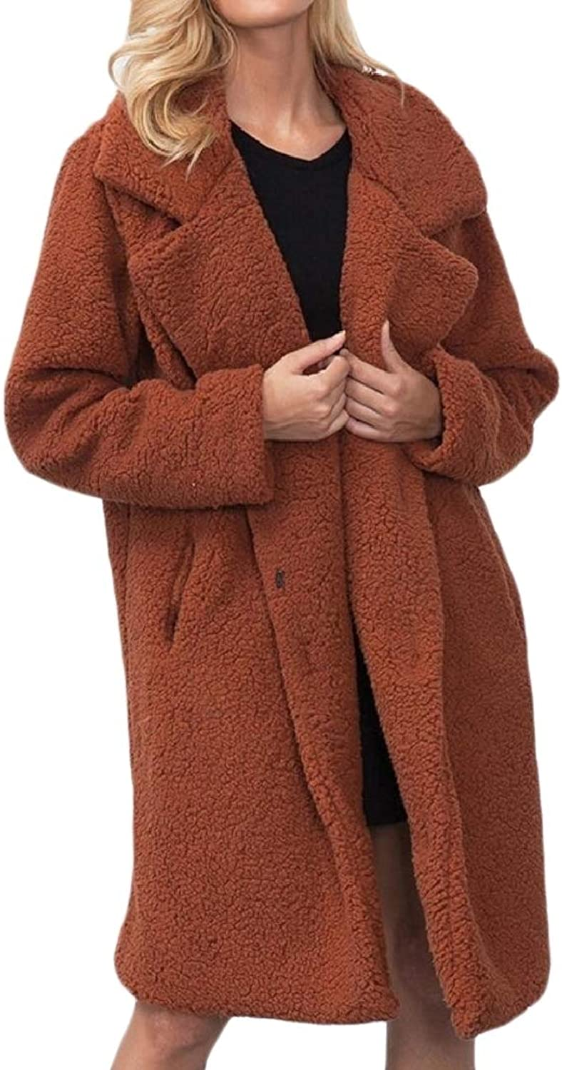Abetteric Women's Outwear Fleece Lamb Wool Parka Solid Long Jacket