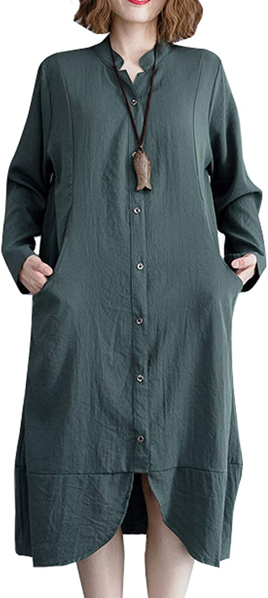 ellazhu Women Black Loose Button Down Casual Blouse Dress with Pocket GA1322 A