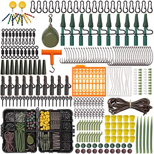 277pcs Carp Fishing Tackle Kit - Assorted Carp Fishing Equipment Set Including Carp Hooks Fishing Swivels Clips Sinker Weights Anti-tangle Sleeves Screws Stoppers Shrink Tubes Tail Rubbers Corn Baits