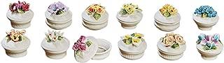 Lidded Floral Porcelain Boxes - Set Of 12
