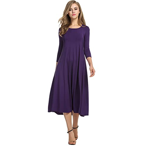 f0cd1a8c6e74 Hotouch Women s 3 4 Sleeve A-line and Flare Midi Long Dress