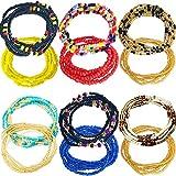 Tuoshei 12 Pieces Summer Jewelry Waist Bead Set Colorful Waist Bead Belly Bead African Waist Bead Body Chain Beaded Belly Chain Bikini Jewelry for Woman Girl (12PCS style7) (style 1)