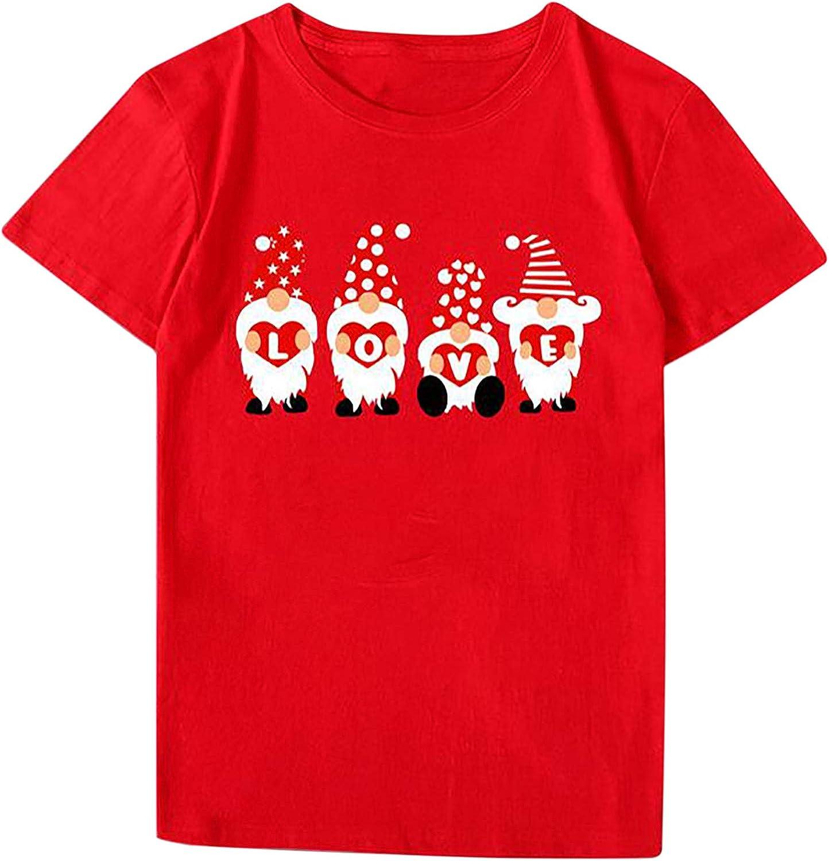 Tupenty Valentine's Day Shirts for Women Miami Mall Round Neck Print Price reduction Gnome