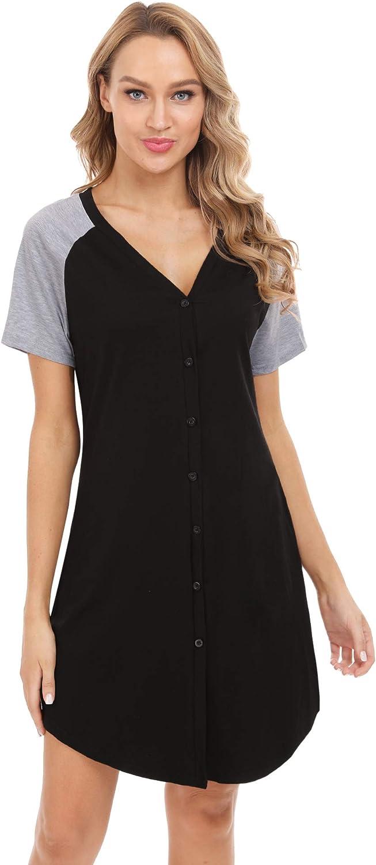 Aiboria Womens Sleep Shirt V-Neck Nightdress Nightgown Loose Nightshirt Nightie Short Sleeve Sleepwear Loungwear