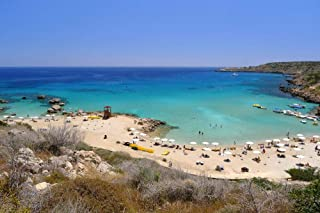 Konnos Bay White Sand Beach Cyprus Europe - Landscape City Poster Print Wall Decor - 25 by 17 inches