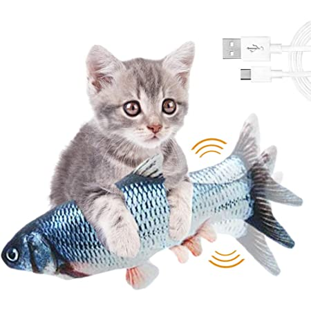 FULNEW Electric Moving Fish Cat Toy Flopping Cat Kicker Fish Toy Wagging Fish Catnip Toys Realistic Plush Simulation Electric Doll Fish Interactive Cat Toy USB Rechargeable