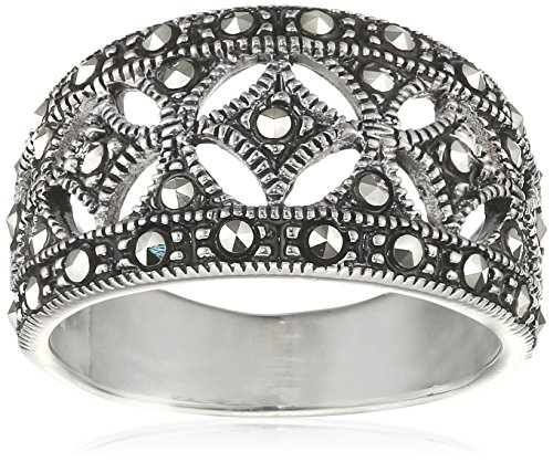 Elements Silver R2012 58 Ladies' Marcasite Wide Sterling Silver Ring - Size 58 (Q)