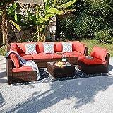 OC Orange-Casual Outdoor Sectional Sofa Wicker Furniture Set with Orange Seat Cushions, Glass Coffee Table Single Sofa Armchair, 7-Piece