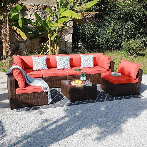 OC Orange-Casual Outdoor Sectional Sofa Wicker Furniture Set with Orange Seat Cushions, Glass Coffee Table Single Sofa Armchair, 7-Piece
