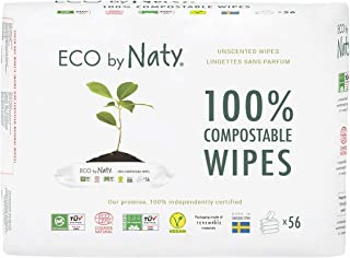 Eco by Naty Plant based Compostable Unscented Baby Wipes, 0% Plastic, No Nasty Chemicals, White, 168 Count, Pack of 3